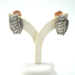 Antique Pair Of Earrings 18k Gold And Diamonds Clip System