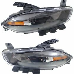 Halogen Headlight Set For 2013-2015 Dodge Dart Black Interior wBulbs Pair CAPA