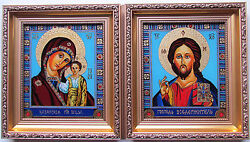 Set of 2 Wedding Icons,Kazanska Mary & Jesus+God Teacher Reverse Glass Painting