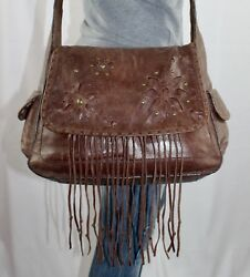 NORDSTROM Medium Brown Leather Shoulder Hobo Tote Cross Body Slouch Purse Bag
