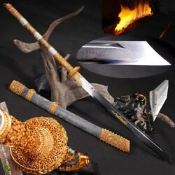 Broadsword Sword Kobuse Forged Folded Steel with Clay Tempered Blade Sharp #3269