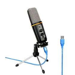 USB Podcast Microphone Headphone Monitoring Vocal Condenser Mic Tripod for PC