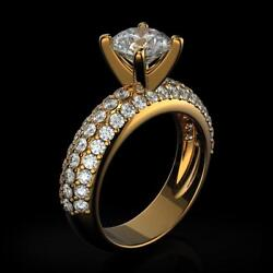 Solitaire Engagement Ring 18k Yellow Gold 1.75 Carat Round Diamond Proposal