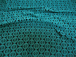 Discount Fabric Stretch Mesh Lace Black Teal Embroidered Circles Sheer D504 $7.99