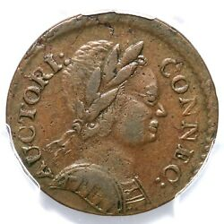 1785 3.4-f.2 R-2 Pcgs Xf 45 Bust Right Connecticut Colonial Coin