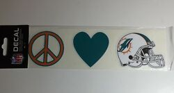 Miami Dolphins Decal Peace, Love, Dolphins - 3 Individual Decals - 3.5 X 2.5