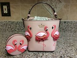 Kate Spade by the Pool Flamingo Pippa Bucket Bag and Polly Coin Purse Pouch Set