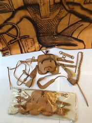 2 Vtg Breyer Western leather saddle and bridle tack Traditional horse size 1970s