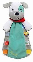 Htf Rare Nwt Taggies Woof Gray White Aqua Puppy Dog Security Blanket Rattle