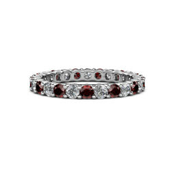 Red Garnet And Diamond Womens Eternity Ring Stackable 2.37 Ctw 14k Gold Jp19858