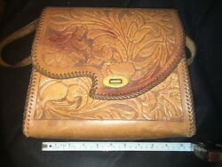 Vintage Embossed Leather Purse - Country Western Floral Design Bag