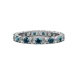 London Blue Topaz And Diamond Eternity Ring Stackable 2.31 Ctw 14k Gold Jp143262