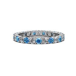 Blue Topaz And Diamond Womens Eternity Ring Stackable 2.09 Ctw 14k Gold Jp19846