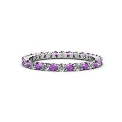 Amethyst And Diamond Common Prong Womens Eternity Ring 0.95 Ctw 14k Gold Jp19516