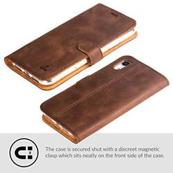 iPhone XR Case Luxury Genuine Leather Wallet Flip Viewing Stand Card Slots Brown