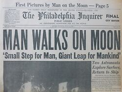 MAN WALKS ON MOON - ARMSTRONG ALDRIN - ONE SMALL STEP SPACE APOLLO July  21 1969