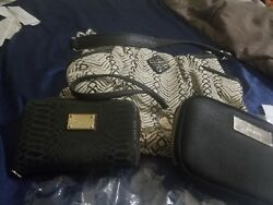 Lot of Designer Bags Wallets. Vera Wang Simply Vera Handbag Black Cream Woven $51.00