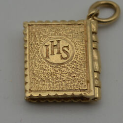 14k Gold Vintage Bible Book Opens Up To 10 Commandments Pendant Ch428