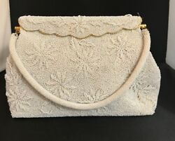Vintage White Beaded Purse Wedding Evening  Floral Design Fold-Over Clasp