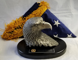 State Dept Issued Cia Statue Cast Pewter Eagle W Black Base And Flag W Emboss Box