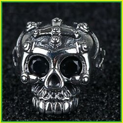 Open Rings Men Solid 925 Sterling Silver Zircon Skull Party Vintage Punk Gift