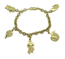 Rare 18k Yellow Gold And Diamond Charm Bracelet - 28 Grams - Excellent Condition