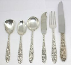 Southern Rose Pattern By Manchester Sterling Flatware Silver 44 Pc Lot I-7
