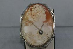 Vintage Large Concave Back Cameo 14kt White Gold And Diamond Pendant/brooch