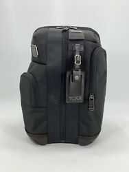 Tumi Higgins Sling Bag Crossbody Backpack Hickory Black with Brown Leather Trim