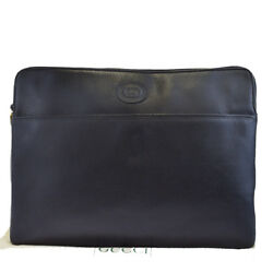 Authentic GUCCI GG Logos Men's Clutch Hand Bag Leather Black Italy 61EJ448
