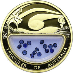 TREASURES OF AUSTRALIA 2007 SAPPHIRES 1 OZ GOLD COIN VERY RARE RAR