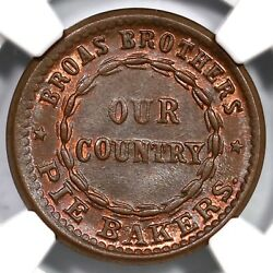 1863 F-630l-18a Ngc Ms 67 Bn Broas Brothers Pie Bakers Civil War Token