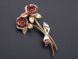 Tri Color 14k Yellow Rose Green Gold Round Diamond Rose Flower Brooch Pin