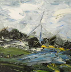 Wind Turbine ORIGINAL OIL PAINTING Yorkshire Steve Greaves English Landscape Art