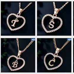 Personalized Name Initial Letter Necklace Rose Gold Color Crystal Heart Love $10.79