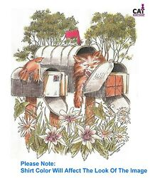 Sleepy Cat In Mailbox Shirt Kitty Friends And Flowers In Garden Sweet And Furry