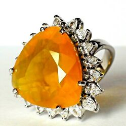 Beautiful Big 19.15 Ct Natural Yellow Opal Ring 925 Sterling Silver.size 6.0.