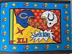 UNIQUE Very Rare ROMERO BRITTO 2007 Super bowl CATALOGUE Colts  Indianapolis