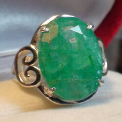 Big 15.15 Ct Gie Certificate Unheated Emerald Ring 925 S.silver.size 9.25