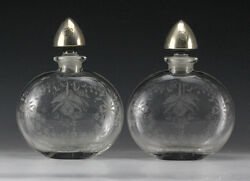 Heisey Glass Co. Orchid Pat. Pair Decanters W/ Sterling Silver Engraved Designs