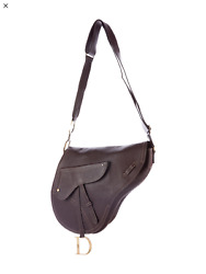Authentic Christian Dior Choc Leather Baudrier Large Saddle Messenger PRISTINE!