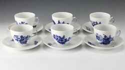 12pc Royal Copenhagen Braided Blue Flower Cups And Saucers Hand Painted Floral