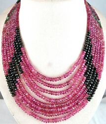 NATURAL MULTI COLOUR TOURMALINE BEADS FACETED ROUND 835 CTS GEMSTONE NECKLACE