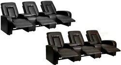 3 Manual Recline Home Theater Chairs Black Brown Leathersoft Storage Cup Holder