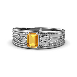 Emerald Cut Citrine Filigree Wide Band Promise Ring 0.80 Ct 14k Gold Jp165239