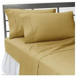 4 Piece Deep Pocket Bed Sheet Set With Elastic All Around All Sizes Taupe Color