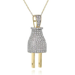 14k Yellow Gold 2.52c Pave Diamond Power Electrical Plug Outlet Pendant Necklace