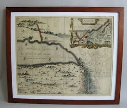 Framed Antique 17th C. Hand-tinted Map Of The Middle East Arabia In Exc. Cdn.