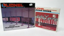 Lionel 0 And 027 Road Signs 6-2180 Complete + Telephone Poles 6-2181 Incomplete