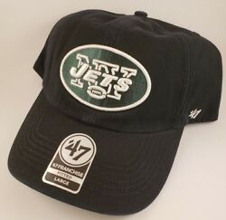 Nwt New York Jets Nfl Football Fitted Large Dad Cap Hat Nwt '47 Brand Black